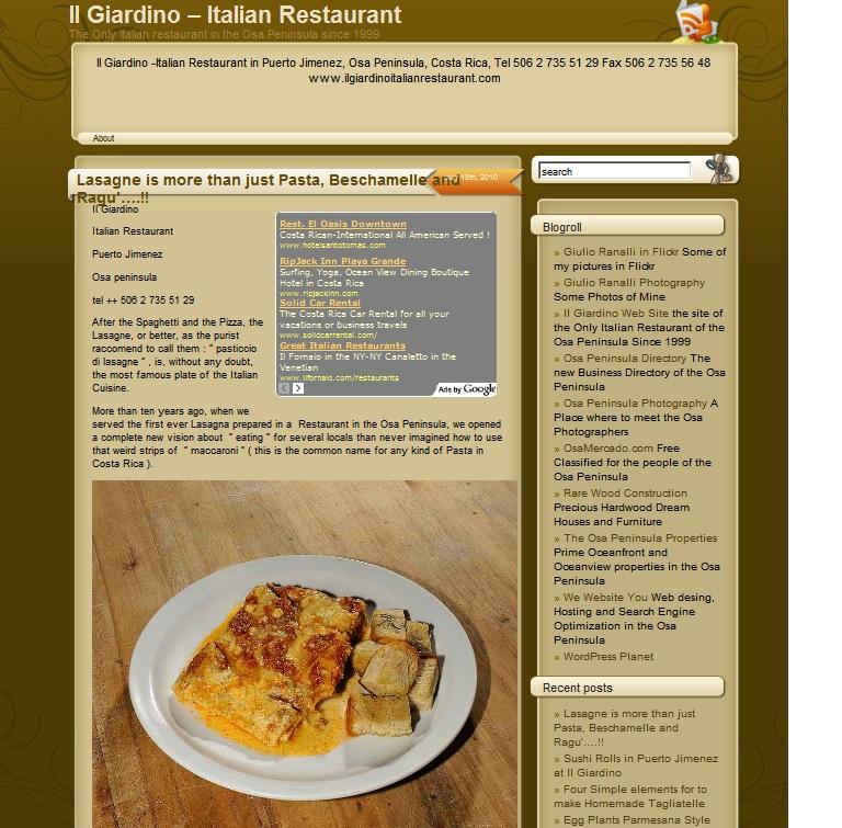 Homepage of Il Giardino Italian Restaurant in Puerto Jimenez Blog
