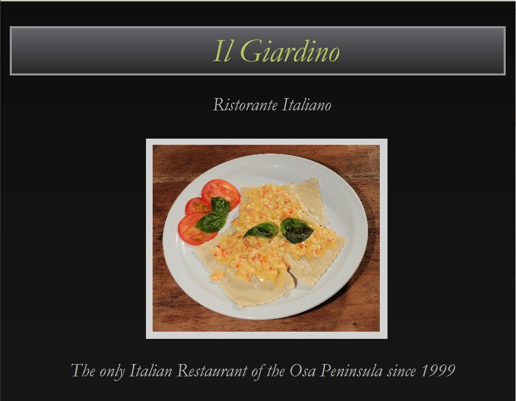 Homepage header of Il Giardino Italian Restaurant in Puerto Jimenez Website
