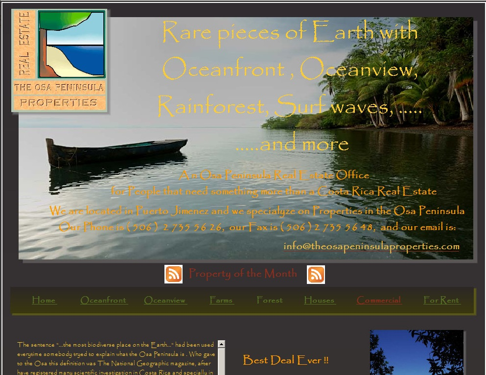 Homepage of the website of the Osa Peninsula Properties, a Real Estate Agency in Puerto Jimenez, Osa Peninsula