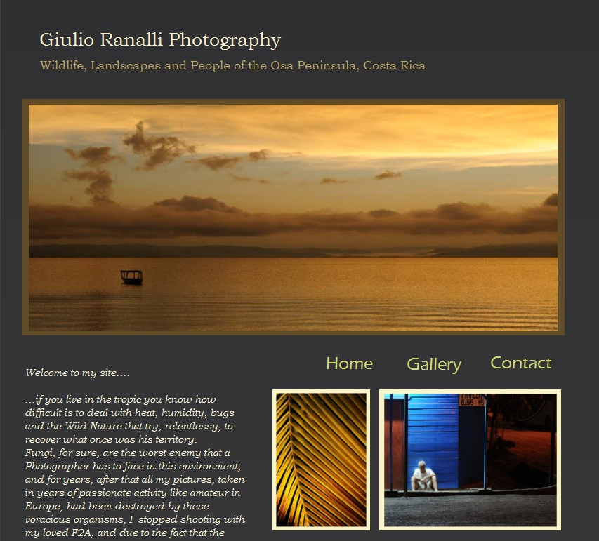 Home page of Giulio Ranalli Photography web site, operating in puerto Jimenez, Osa Peninsula, available for commercial photography, web pictures, film scanning, digital retouching, weding services