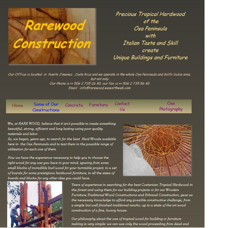 Home page of Rarewood, Fine Tropical Hardwood for Dream House and Exclusive Furniture in Puerto Jimenez, Osa Peninsula