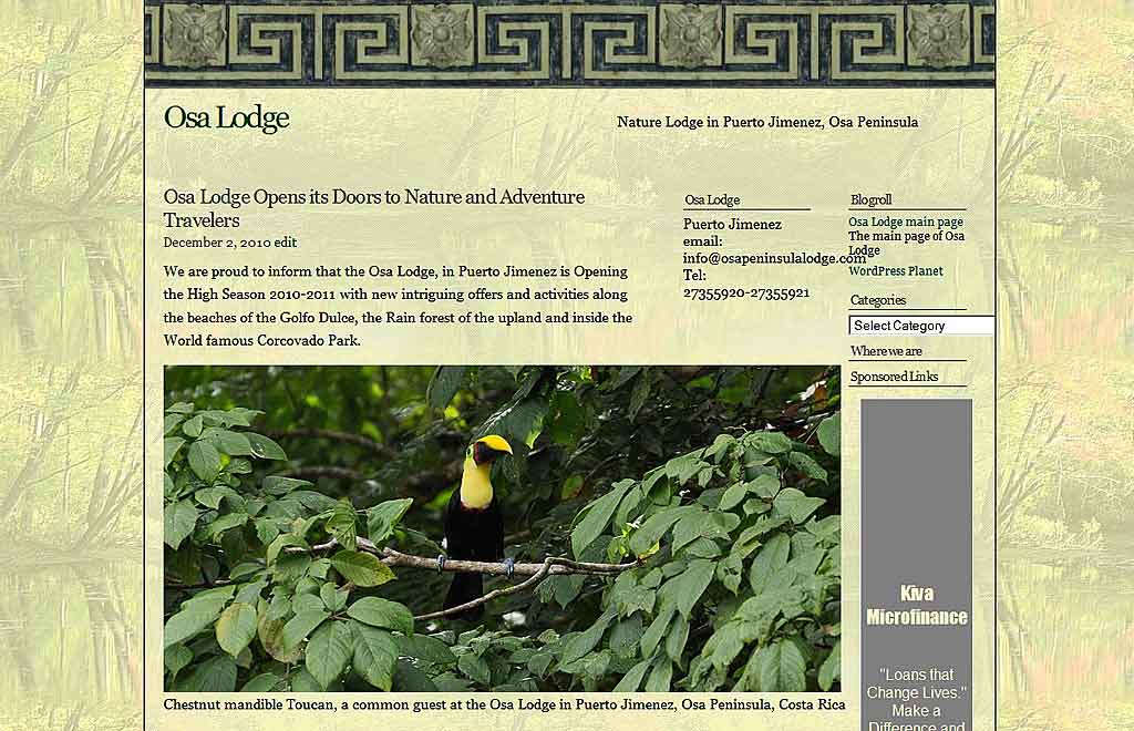 Blog screen shot of the Osa Lodge, a nature Lodge in Puerto Jimenez, Osa Peninsula, costa rica